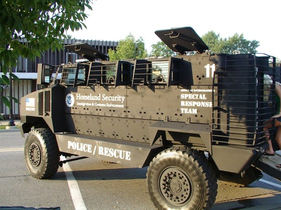 DHS and FEMA armed fighting vehicles.