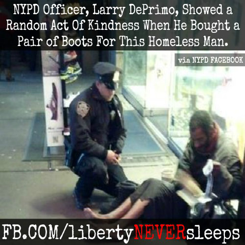 NYPD Officer, Larry DePrimo, showed an inspirational act of kindness when he bought a pair of boots for a homeless man in New York. Image Credit: #libertyNEVERsleeps/Marshall D. Culpepper