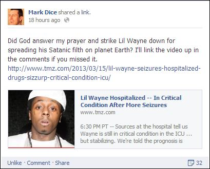 Screen Shot From Mark Dice's Facebook Page