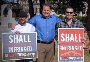 Founder of The Jeenyus Corner, Marshall Culpepper (L) with Senator Lee Bright (middle) and Andrew Mullinax (R) at the South Carolina State House in Columbia.  (1/19/2013)